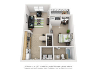 Floor plan of a 1 bed, 1 bath student apartment